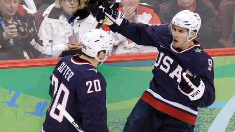 Zach Parise and Ryan Suter at the 2010 Olympics