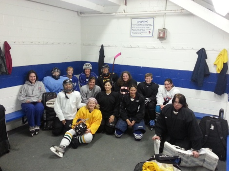 Pittsburgh Puffins in the locker room before practice at Mt. Lebanon Ice Rink