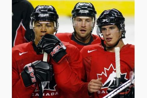 Iginla, Morrow, Crosby at the 2010 Olympics- Courtesy of the Canadian Press