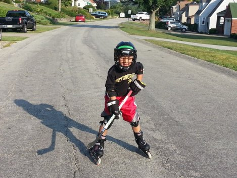 I was asked today if he practices real hard, if he can play roller hockey. Why not? That's great work ethic!